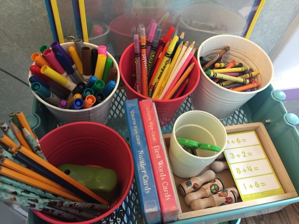 "This is known as the ""Art Cart"" in our house. It houses different writing materials, stampers, stamp pads, etc."